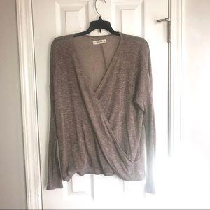 Abercrombie Lightweight Wrap Sweater Lavender Gray